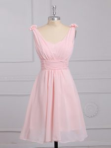 Baby Pink Quinceanera Court Dresses Prom and Party and Wedding Party with Hand Made Flower Straps Sleeveless Lace Up