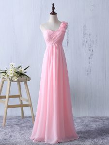 Inexpensive Baby Pink Empire Ruffles and Ruching Quinceanera Court Dresses Zipper Chiffon Sleeveless Floor Length