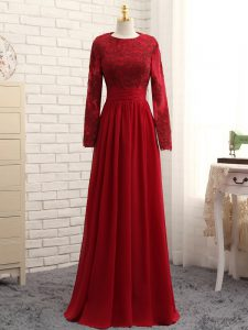 Low Price Chiffon Scoop Long Sleeves Zipper Lace and Appliques Evening Outfits in Wine Red