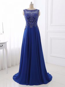 Royal Blue Bateau Side Zipper Beading Evening Dress Sweep Train Sleeveless