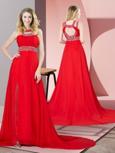 Red Prom Gown Prom and Party and Military Ball with Beading Scoop Sleeveless Brush Train Backless