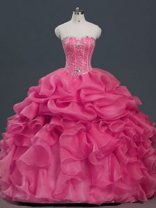 Floor Length Ball Gowns Sleeveless Hot Pink Quinceanera Dresses Lace Up