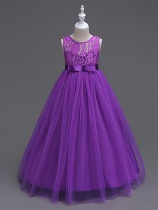 Tulle Scoop Sleeveless Zipper Lace Pageant Dress Toddler in Purple