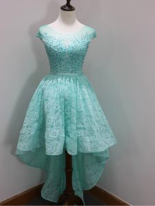 Elegant Aqua Blue Cap Sleeves High Low Beading and Lace Zipper Court Dresses for Sweet 16