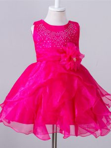 Discount Sleeveless Knee Length Beading and Hand Made Flower Zipper Kids Pageant Dress with Hot Pink