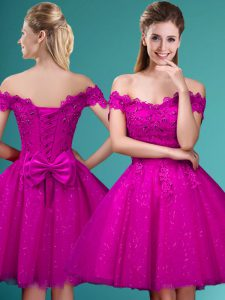 Fuchsia Off The Shoulder Lace Up Lace and Belt Quinceanera Court Dresses Cap Sleeves