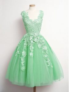 V-neck Sleeveless Quinceanera Dama Dress Knee Length Appliques Green Tulle