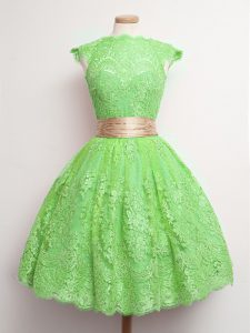 Custom Designed Knee Length Ball Gowns Cap Sleeves Green Dama Dress Lace Up