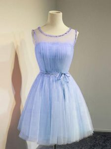 Adorable Lavender Tulle Lace Up Quinceanera Court Dresses Sleeveless Knee Length Belt