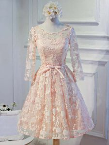 Perfect Peach Lace Up Scoop Appliques Prom Dresses Organza Long Sleeves