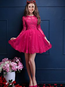 Hot Pink Scalloped Neckline Beading and Lace and Appliques Dama Dress for Quinceanera 3 4 Length Sleeve Lace Up
