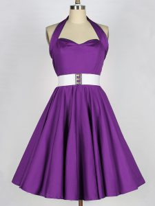 Sleeveless Knee Length Belt Lace Up Vestidos de Damas with Eggplant Purple