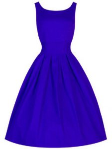 Pretty Blue Scoop Neckline Ruching Dama Dress for Quinceanera Sleeveless Lace Up