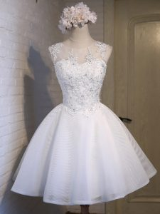Mini Length White Quinceanera Court of Honor Dress Scoop Sleeveless Lace Up