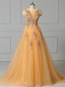 Gold Sleeveless Tulle Brush Train Lace Up Prom Gown for Prom and Party