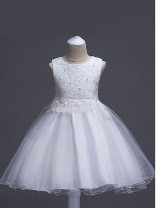 Excellent White Sleeveless Organza Zipper Pageant Dress Wholesale for Wedding Party