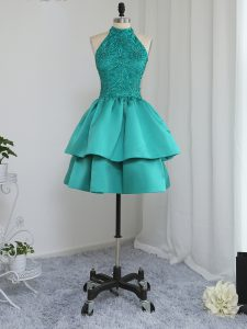 High End Turquoise Satin Zipper Prom Gown Sleeveless Mini Length Lace and Appliques