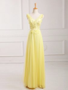 Chiffon Sleeveless Floor Length Prom Party Dress and Lace and Appliques and Belt