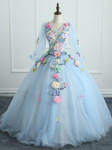 Most Popular Floor Length Lace Up 15 Quinceanera Dress Light Blue for Military Ball and Sweet 16 and Quinceanera with Appliques and Hand Made Flower