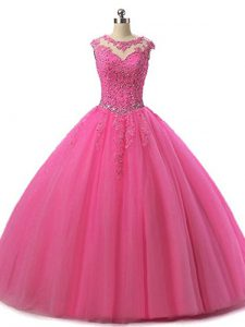 Hot Pink Tulle Lace Up Scoop Sleeveless Floor Length Vestidos de Quinceanera Beading and Lace