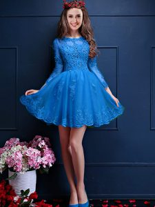 Modest Mini Length Lace Up Quinceanera Dama Dress Teal for Prom and Party with Beading and Lace and Appliques