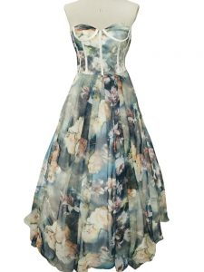 Ideal Multi-color Sleeveless Printed Zipper Evening Dress for Prom and Military Ball and Beach