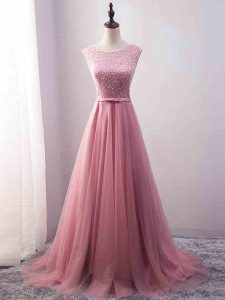 High End Pink Tulle Zipper Prom Gown Sleeveless Brush Train Beading and Belt