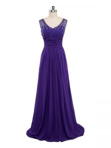 Gorgeous Beading and Ruching Prom Gown Purple Side Zipper Sleeveless Floor Length