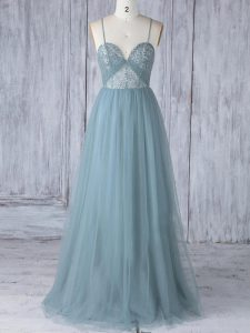 Grey Empire Spaghetti Straps Sleeveless Tulle Floor Length Criss Cross Appliques Quinceanera Dama Dress
