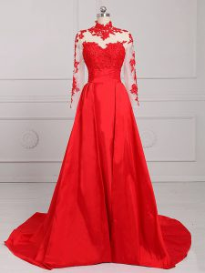 Pretty Long Sleeves Brush Train Backless Lace and Appliques Womens Evening Dresses