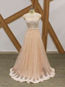 Cheap Sleeveless Tulle Floor Length Zipper Evening Outfits in Champagne with Beading and Lace and Appliques