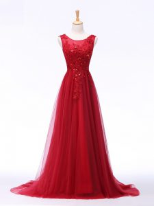 Admirable Lace and Appliques Evening Party Dresses Red Lace Up Sleeveless Brush Train