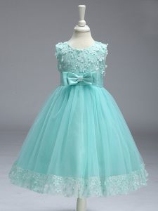 Knee Length Zipper Pageant Gowns For Girls Apple Green for Wedding Party with Lace and Bowknot