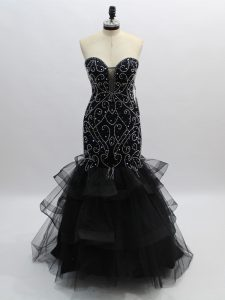 Free and Easy Black Sleeveless Beading and Ruffles Floor Length Dress for Prom