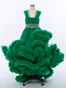 Unique Dark Green A-line Beading and Hand Made Flower Little Girl Pageant Gowns Lace Up Tulle Sleeveless High Low