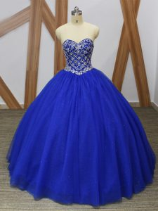 Excellent Floor Length Royal Blue Quinceanera Dresses Tulle Sleeveless Beading