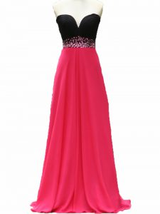 Custom Fit Pink And Black Taffeta Zipper Evening Outfits Sleeveless Floor Length Beading