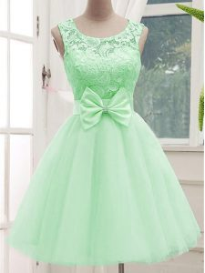 New Arrival Apple Green Tulle Lace Up Scoop Sleeveless Knee Length Vestidos de Damas Lace and Bowknot