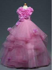 Tulle Sleeveless Floor Length Kids Pageant Dress and Ruffles and Hand Made Flower