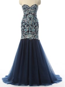 Luxury Sleeveless Tulle With Train Zipper Prom Evening Gown in Navy Blue with Beading and Embroidery