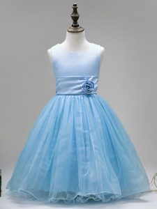 Affordable Sleeveless Floor Length Hand Made Flower Zipper Pageant Gowns For Girls with Baby Blue