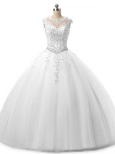 Great White Sleeveless Tulle Lace Up Sweet 16 Dress for Military Ball and Sweet 16 and Quinceanera
