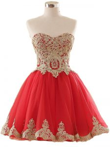 Spectacular Red Sleeveless Mini Length Appliques Lace Up Prom Evening Gown