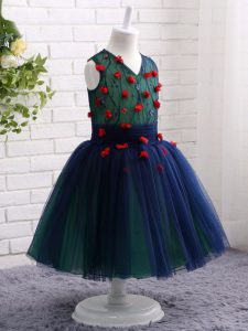 Navy Blue Sleeveless Tulle Zipper Kids Pageant Dress for Wedding Party