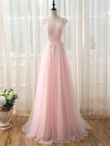 Baby Pink Tulle Zipper Scoop Cap Sleeves Dama Dress for Quinceanera Brush Train Beading and Lace