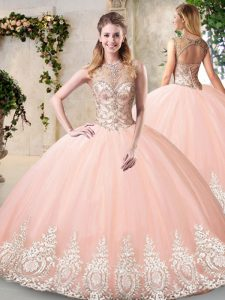 Cheap Peach Scoop Backless Beading and Appliques Vestidos de Quinceanera Sleeveless