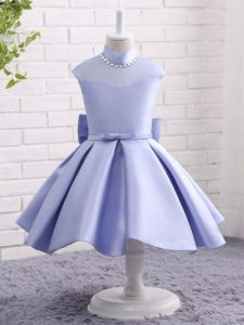 Ball Gowns Little Girls Pageant Gowns Lavender High-neck Taffeta Cap Sleeves Knee Length Zipper