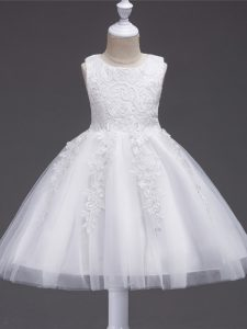 Lovely Knee Length White Pageant Dress for Womens Tulle Sleeveless Appliques
