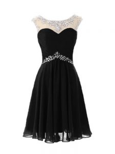 Scoop Cap Sleeves Homecoming Gowns Knee Length Beading Black Chiffon