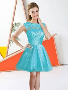Sleeveless Knee Length Beading and Lace Backless Quinceanera Court Dresses with Aqua Blue